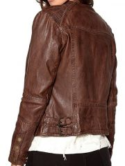 Womens Fashion Designer Waxed Leather Jacket Brown 4