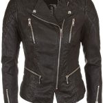 Womens Quilted Leather Biker Jacket