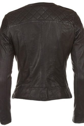 Womens Leather Biker Leather Jacket Black and White