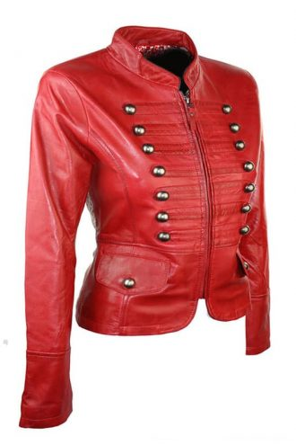 Womens Military Style Slim Fit Real Leather Jacket Red 02