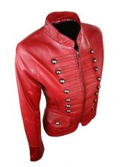 Womens Military Style Slim Fit Real Leather Jacket Red 03