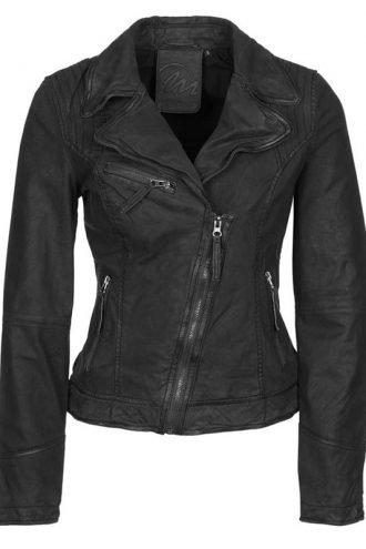 Womens Nubuk Real Leather Motorcycle Jacket Black