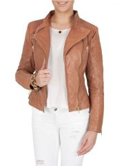 Womens Quilted Leather Jacket Tan Brown Golden Hardware 2