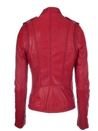Womens Real Leather Biker Jacket Red 1