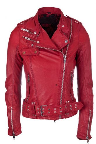 Womens Real Leather Biker Jacket Red