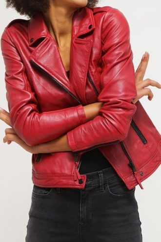 Womens Real Leather Motorcycle Jacket Red 3