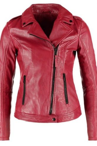 Womens Real Leather Motorcycle Jacket Red
