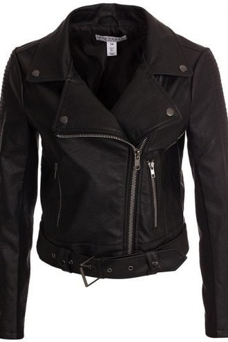Womens Real Leather Motorcycle Leather Black