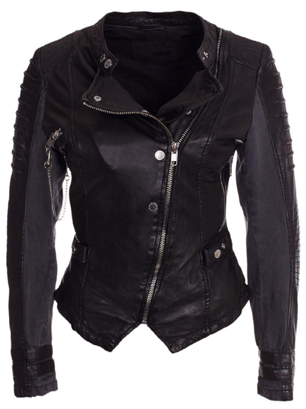 Womens Slim Fit Diamond Quilted Leather Biker Jacket Black 03