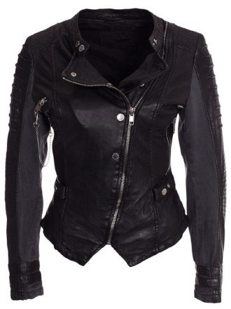 Womens Slim Fit Diamond Quilted Leather Biker Jacket Black 03