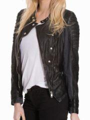 Womens Slim Fit Diamond Quilted Leather Biker Jacket Black
