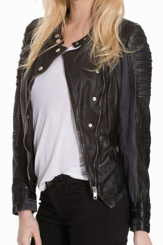 Womens Slim Fit Diamond Quilted Leather Biker Jacket Black