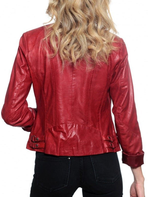 Womens Slim Fit Fashion Leather Jacket Red 1