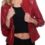 Womens Slim Fit Fashion Leather Jacket Red