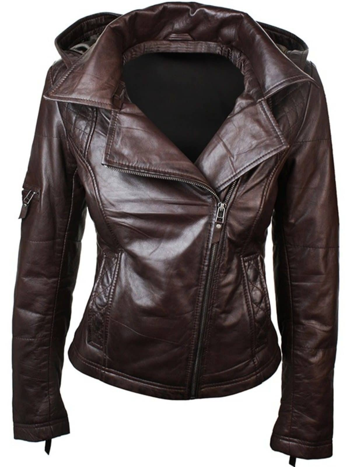 Womens Slim Fit Leather Jacket with Hood Chocolate Brown 1