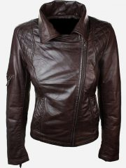 Womens Slim Fit Leather Jacket with Hood Chocolate Brown