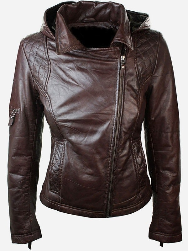 Womens Slim Fit Leather Jacket with Hood Chocolate Brown 2