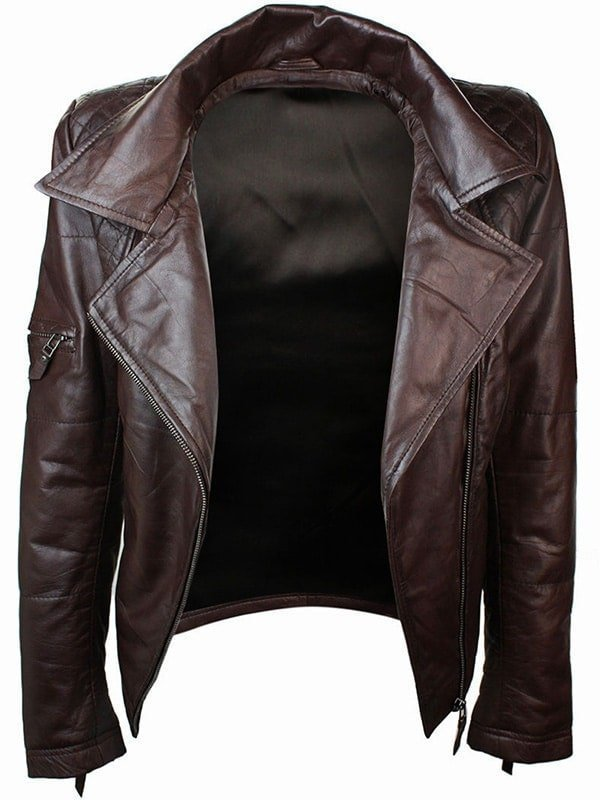 Womens Slim Fit Leather Jacket with Hood Chocolate Brown 3