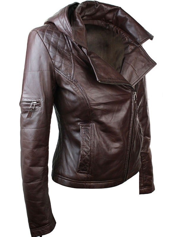 Womens Slim Fit Leather Jacket with Hood Chocolate Brown 4