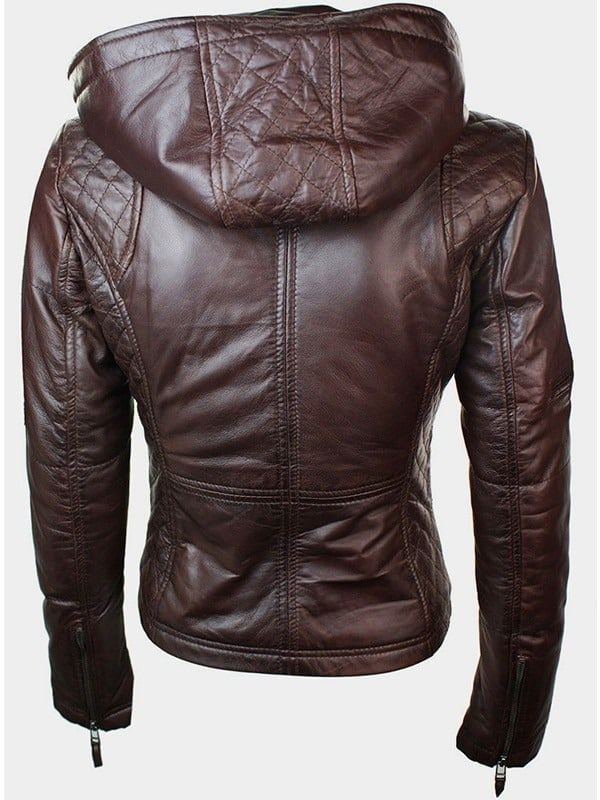 Womens Slim Fit Leather Jacket with Hood Chocolate Brown 5