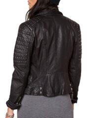 Womens Slim Fit Leather Motorcyle Jacket Black Studded 02