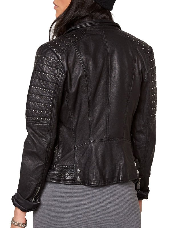 Womens Slim Fit Leather Motorcyle Jacket Black Studded 02
