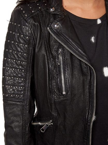 Womens Slim Fit Leather Motorcyle Jacket Black Studded 03