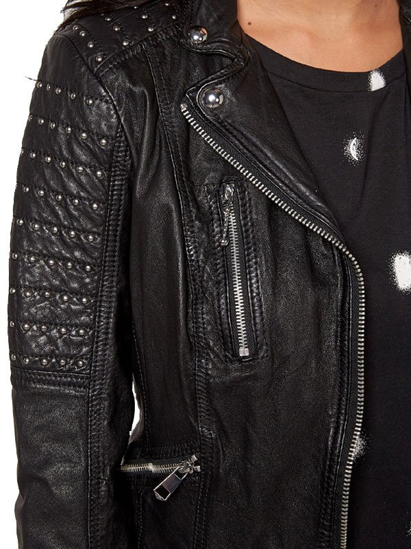 Womens Slim Fit Leather Motorcyle Jacket Black Studded 03