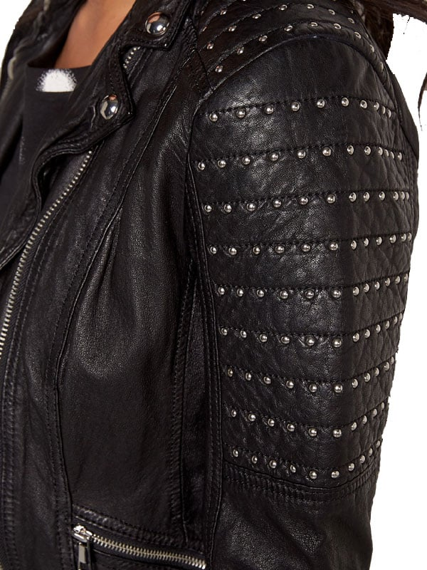 Womens Slim Fit Leather Motorcyle Jacket Black Studded 04