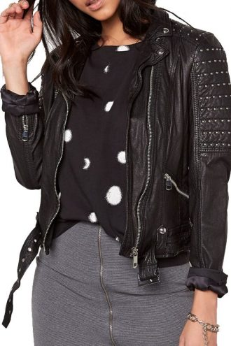 Womens Slim Fit Leather Motorcyle Jacket Black Studded