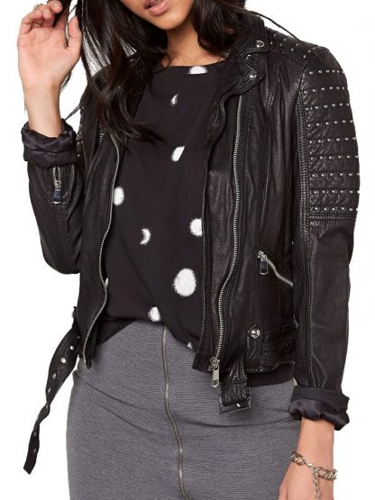 Womens Slim Fit Leather Motorcyle Jacket Black Studded