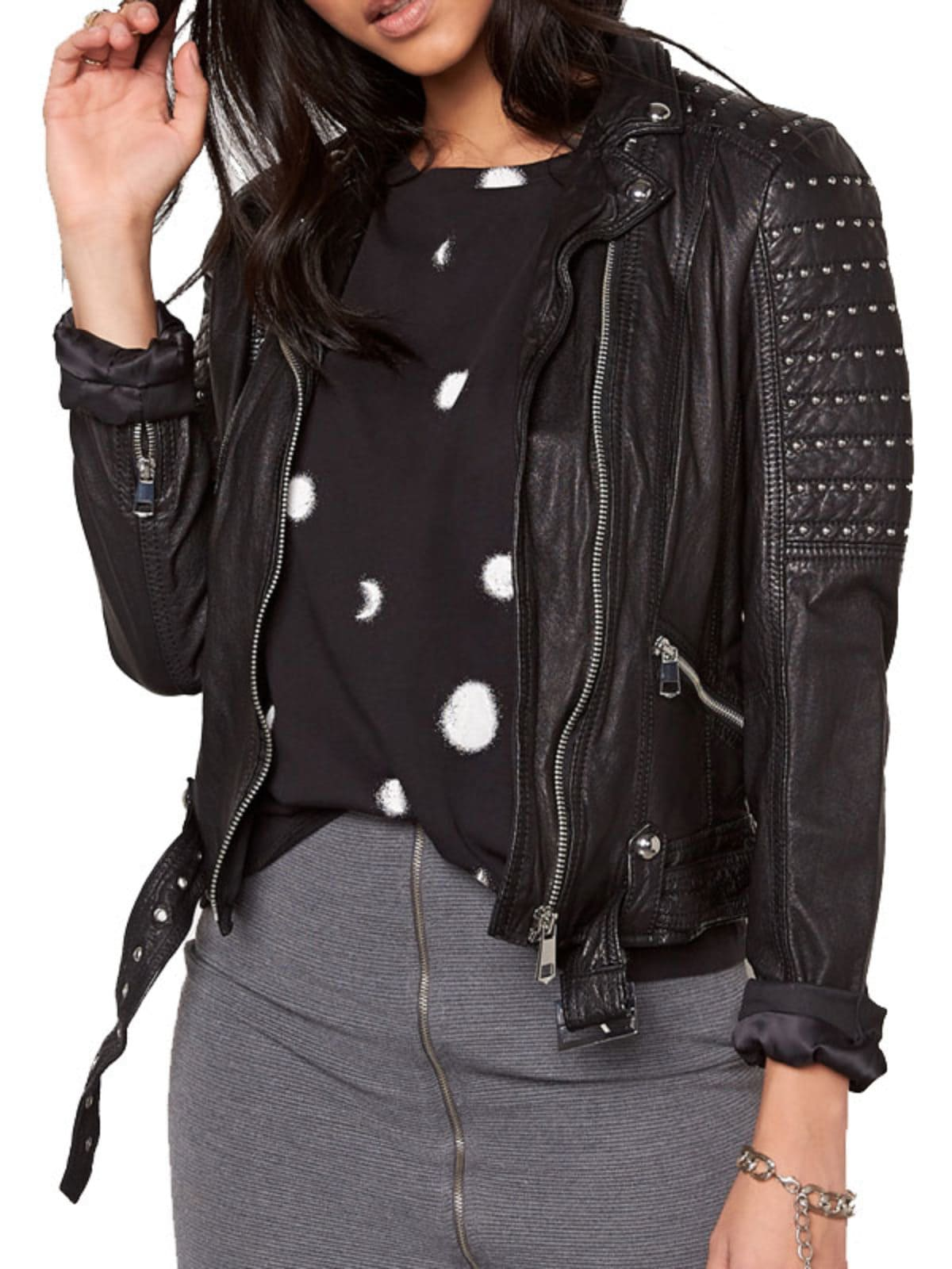 Womens Slim Fit Leather Motorcycle Jacket Black Studded