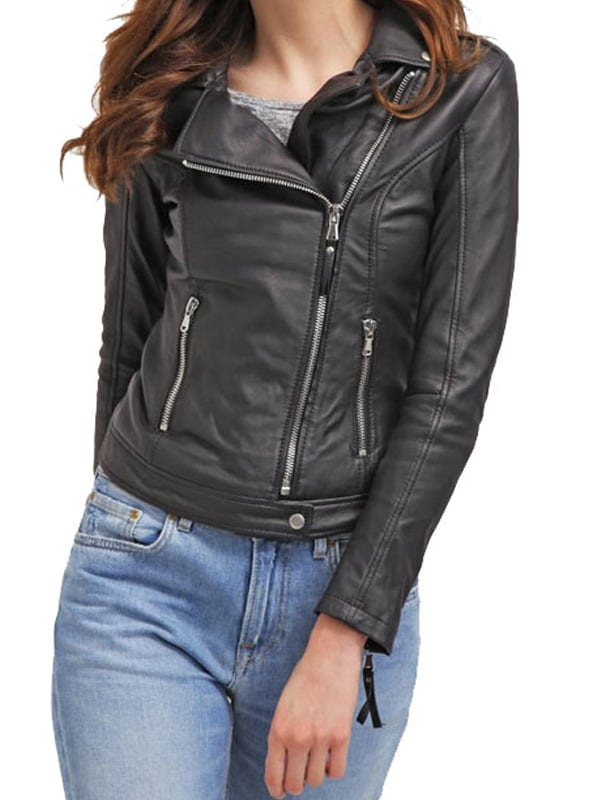 New Black Lambskin Real Leather Jacket Women Ladies Slim Fit Biker Quilted Sale
