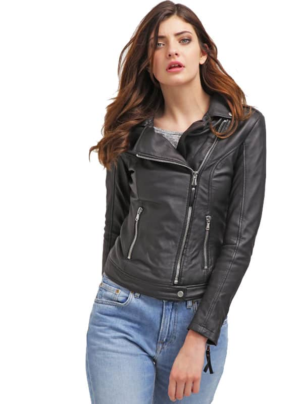 Womens Slim Fit Sheepskin Leather Biker Jacket Black 02