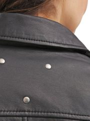 Womens Slim Fit Sheepskin Leather Biker Jacket Black 03