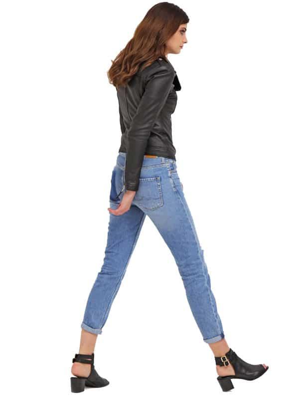 Womens Slim Fit Sheepskin Leather Biker Jacket Black 04
