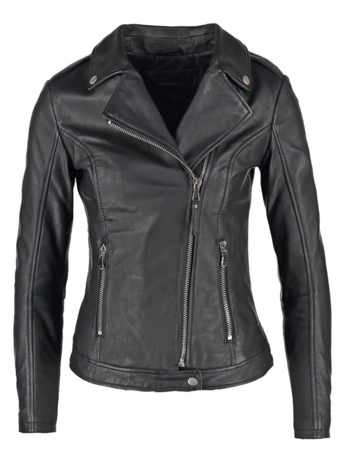 Womens Slim Fit Sheepskin Leather Biker Jacket Black
