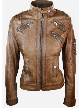 Womens Slim Fit Vintage Punk Leather Biker Jacket Brown