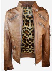 Womens Slim Fit Vintage Punk Leather Biker Jacket Brown