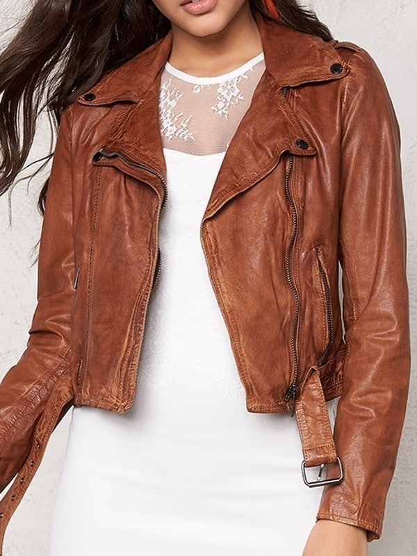 Womens Slim Fit Waxed Leather Jacket Tan Brown 01