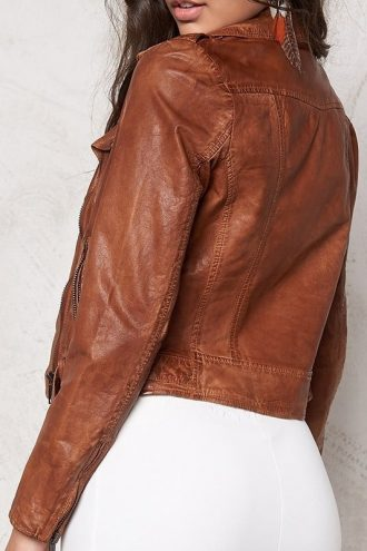 Womens Slim Fit Waxed Leather Jacket Tan Brown 02