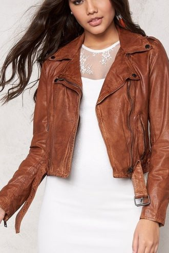 Womens Slim Fit Waxed Leather Jacket Tan Brown