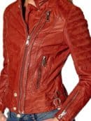Womens Slim Fit Waxed Leather Jacket Tan Brown Orange