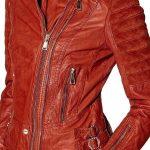 Womens Slim Fit Waxed Leather Jacket Tan Brown Orange