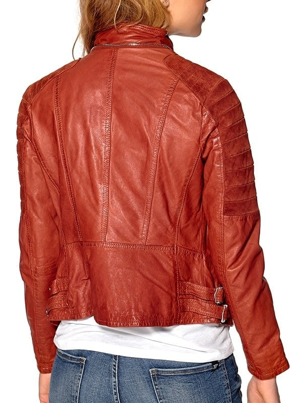 Womens Slim Fit Waxed Leather Jacket Tan Brown Orange 2