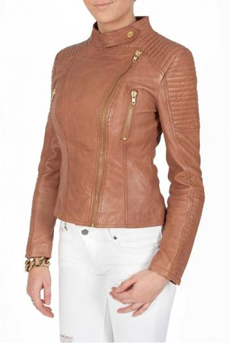 Womens Tan Brown Quilted Golden Hardware Real Leather Jacket 1