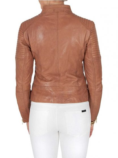 Womens Tan Brown Quilted Golden Hardware Real Leather Jacket 3