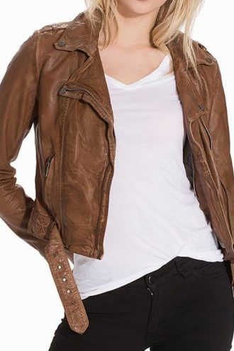 Womens Vintage Style Leather Motorcycle Jacket Tan Brown