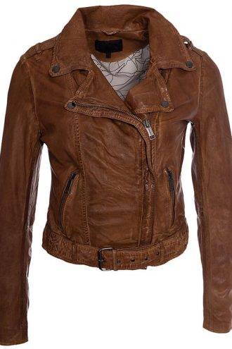 Womens Vintage Style Leather Motorcycle Leather Tan Brown