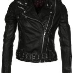 Womens Waxed Sheepskin Leather Biker Jacket Black 1